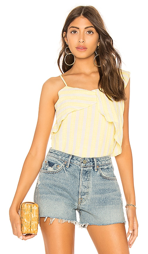 Line & Dot Ali Top in Yellow