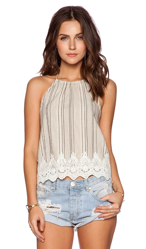 Line & Dot Linear Lace Detail Top in Black