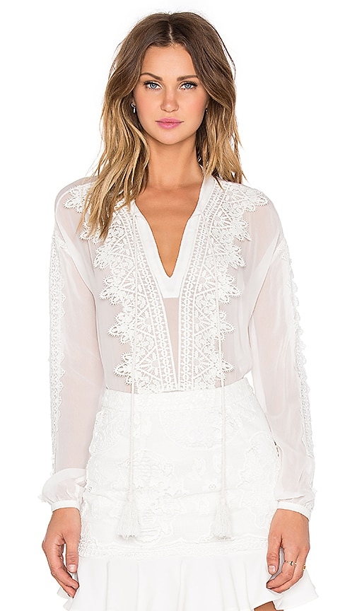 Line & Dot Mademoiselle Blouse in White