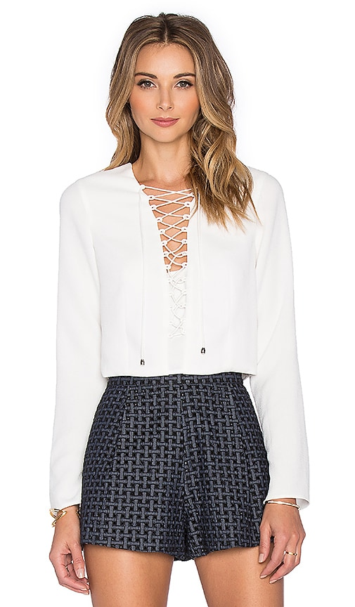 Line & Dot Rhone Lace Up Top in White