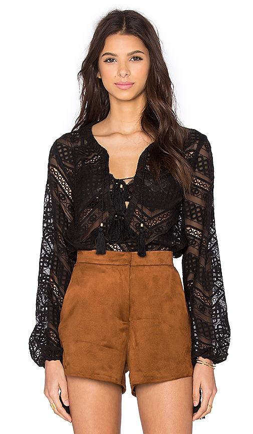 Line & Dot Lyon Lace Blouse in Black