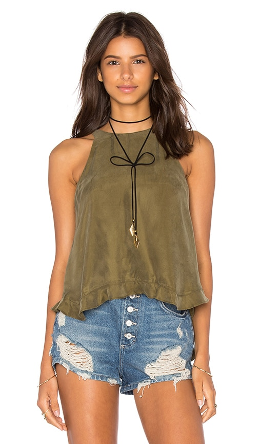 Line & Dot Musee Frill Top in Green