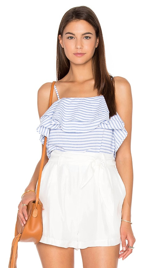 Line & Dot Lea Ruffle Top in Blue