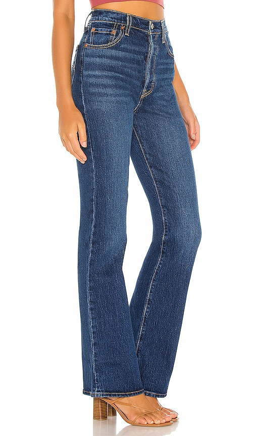 Levi's Ribcage Boot Cut Jeans in Turn Up Denim Blue