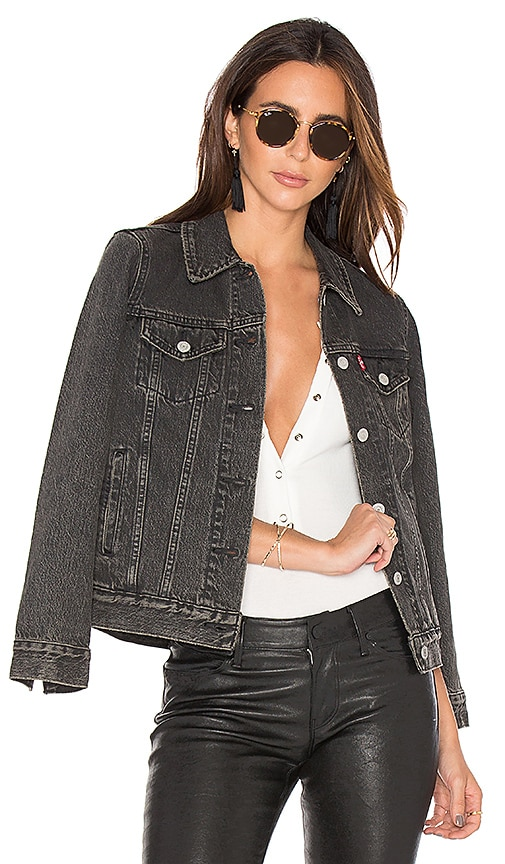 LEVI'S Boyfriend Trucker Jacket in Mountain Black