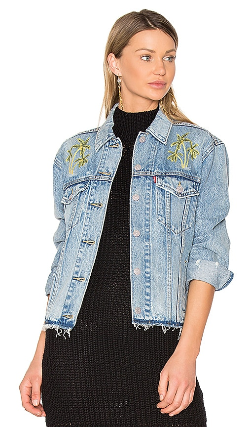 LEVI'S Palm Embroidered Denim Jacket in Medium Blue