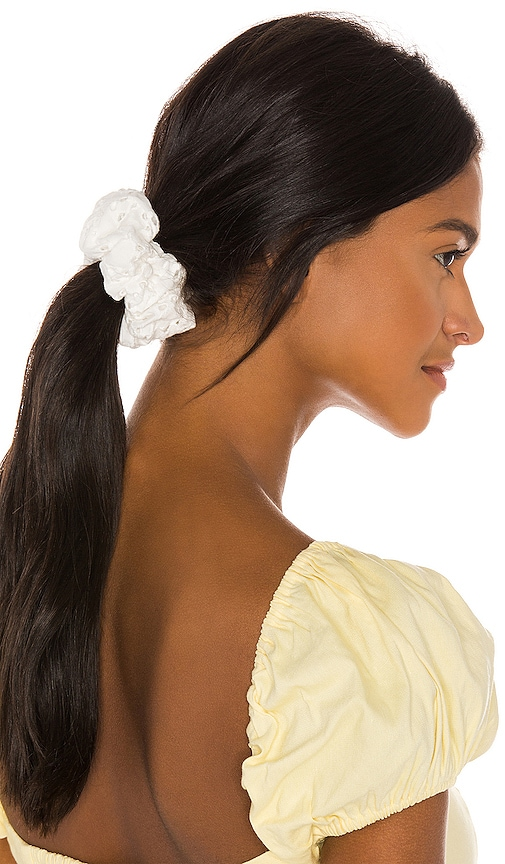 Lele Sadoughi Oversized Scrunchie In White Eyelet