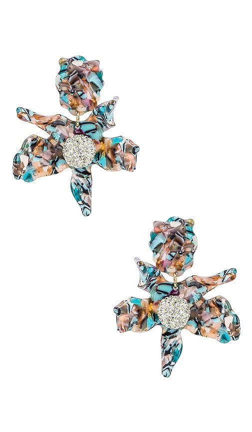 Crystal Lily Clip On Earring