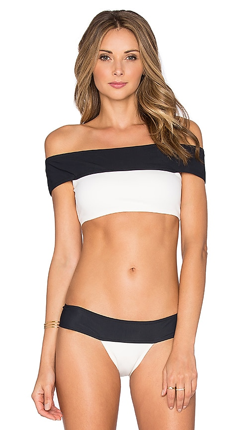 Lenny Niemeyer Off Shoulder Bikini Top in Off White & Black