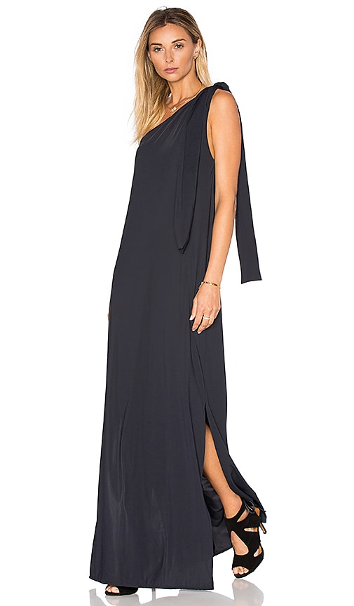 Lenny Niemeyer Drape One Shoulder Maxi Dress in Black