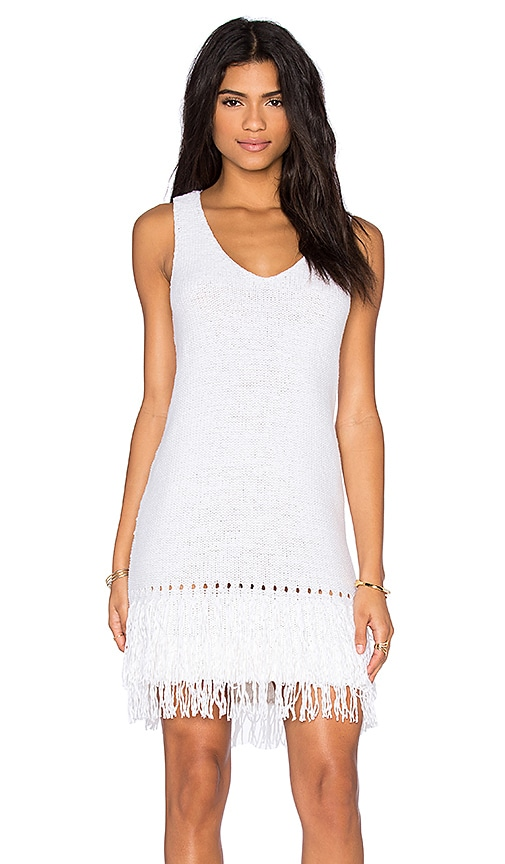 LEO & SAGE Fringe Mini Dress in White