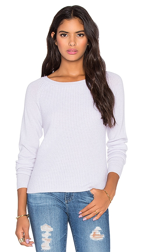 LEO & SAGE Shrunken Ribbed Raglan Sweater in Freesia