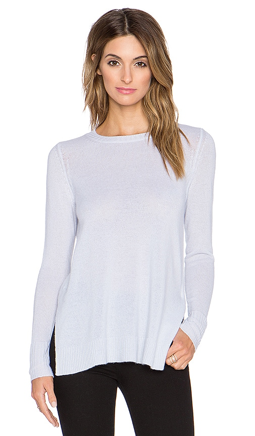 LEO & SAGE Side Slit Crew Neck Sweater in Iceberg