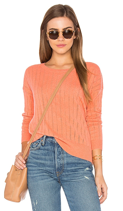 LEO & SAGE Open Stitched Sweater in Coral