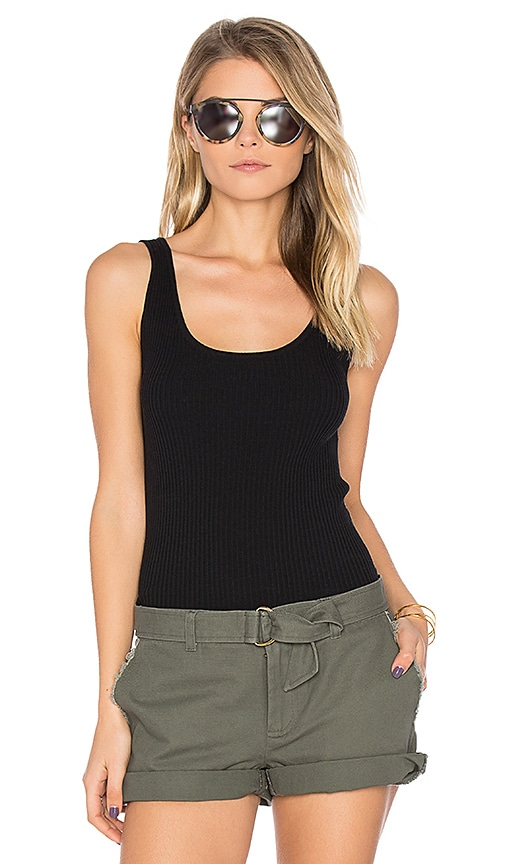 LEO & SAGE Rib Fitted Tank in Black