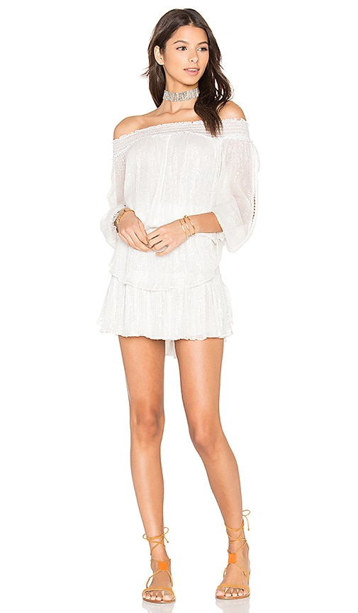 LoveShackFancy Smocked Ruffle Mini Dress in Ivory
