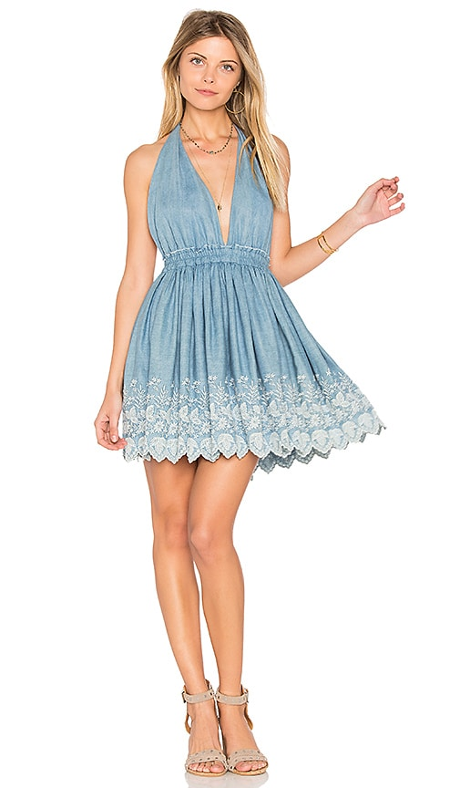 LoveShackFancy Halter Mini Dress in Blue