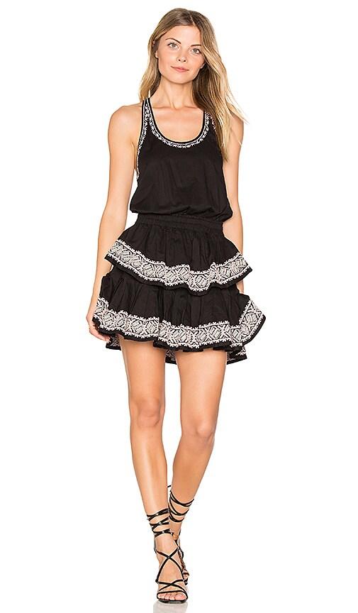 LoveShackFancy Ruffle Racer Mini Dress in Black