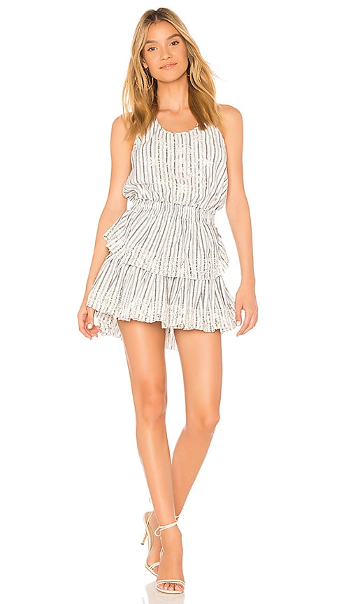 LoveShackFancy Ruffle Racer Mini Dress in White