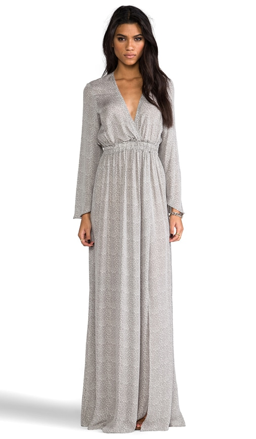 Baby Leopard Long Sleeve Slit Maxi Dress