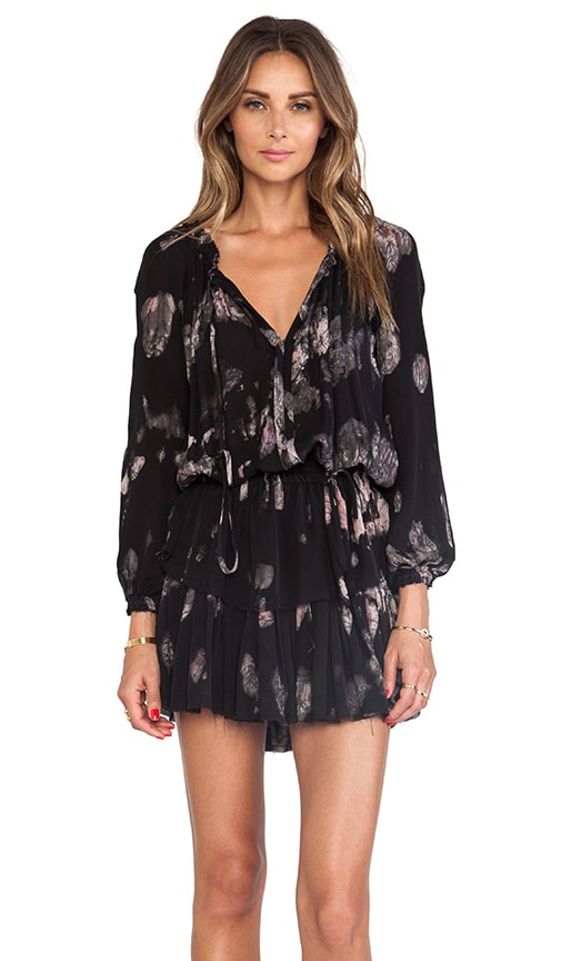 Midnight Floral Batik Popover Ruffle Mini Dress