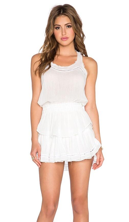 LoveShackFancy Ruffle Racer Mini Dress in White