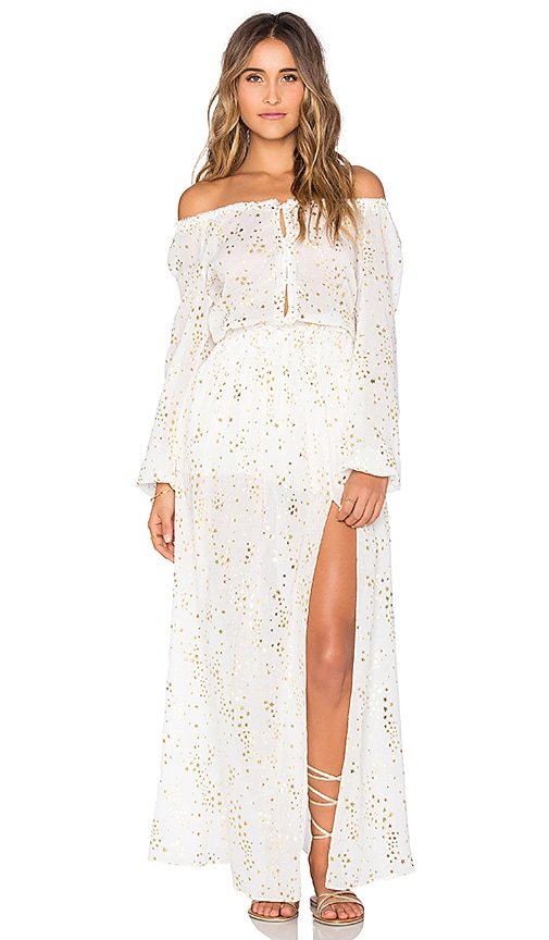 LoveShackFancy Smocked Maxi Dress in Cream