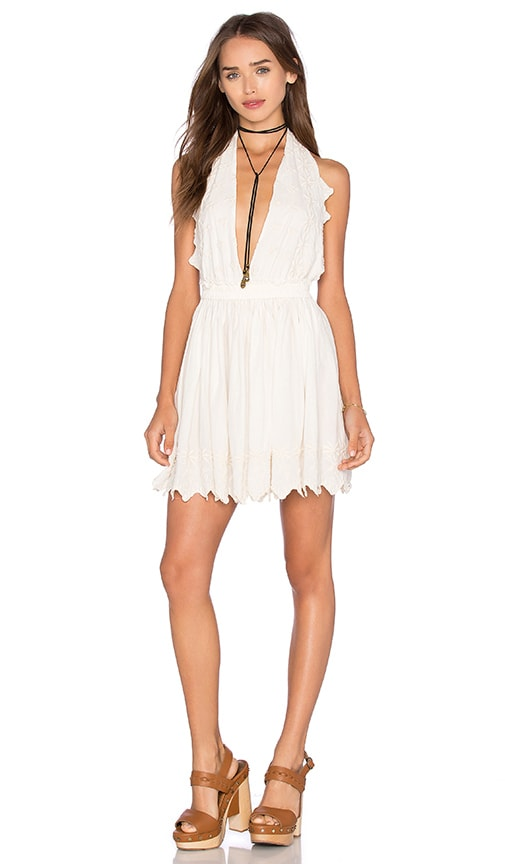LoveShackFancy Halter Mini Dress in Ivory