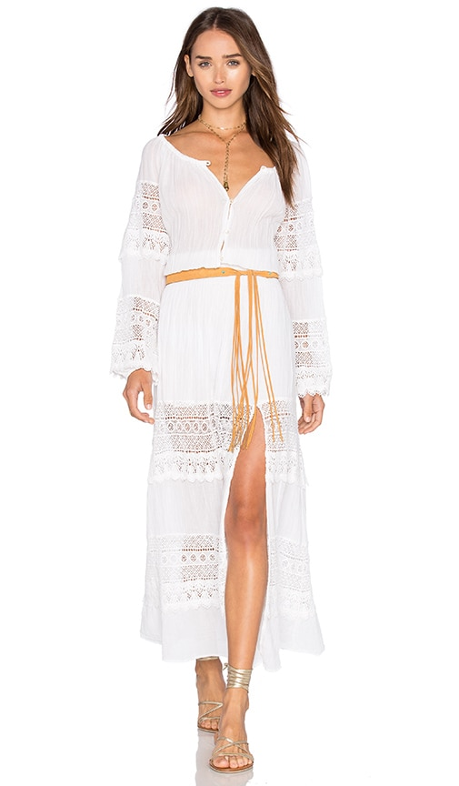 LoveShackFancy Smocked Maxi Dress in White