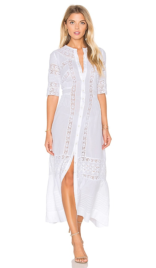 LoveShackFancy Victorian Maxi Dress in White