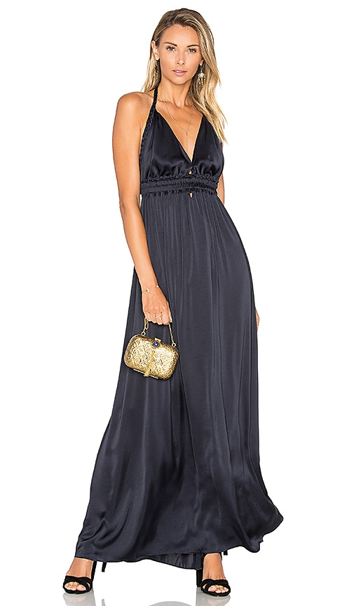 LoveShackFancy Braided Love Maxi Dress in Navy