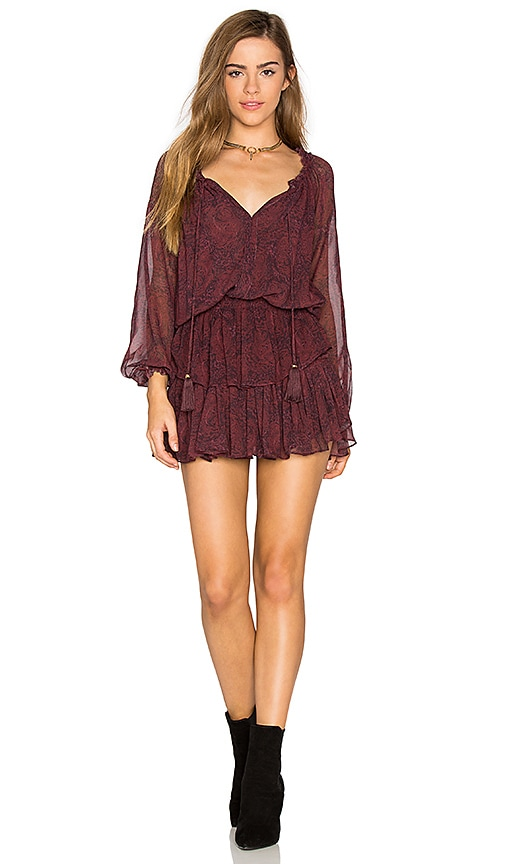 LoveShackFancy Popover Dress in Burgundy