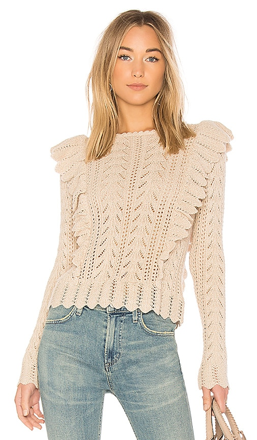 LoveShackFancy Ruffle Pullover Sweater in Beige