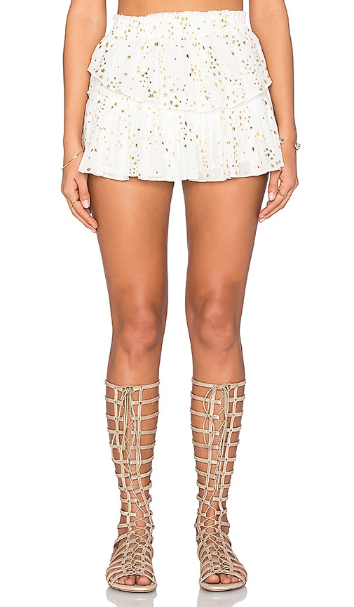 LoveShackFancy Ruffle Mini Skirt in Cream