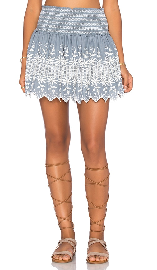 LoveShackFancy Beach Mini Skirt in Blue