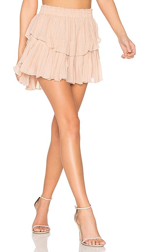 LoveShackFancy Ruffle Mini Skirt in Blush