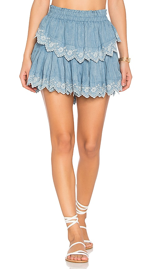 LoveShackFancy Ruffle Mini Skirt in Blue