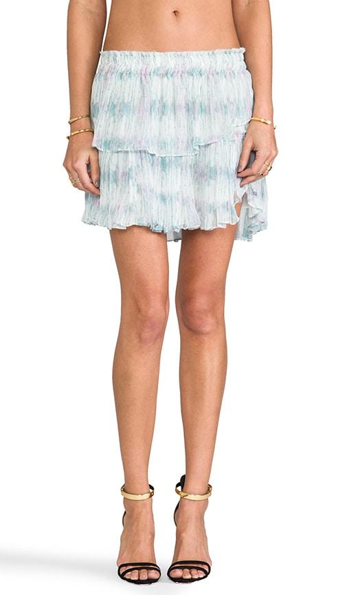 Water Color Ikat Ruffle Mini Skirt