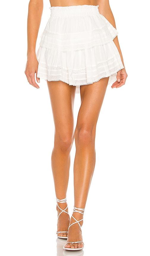 LoveShackFancy Ruffle Mini Skirt in White