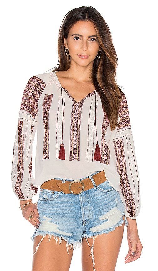 LoveShackFancy Lou Peasant Blouse in White