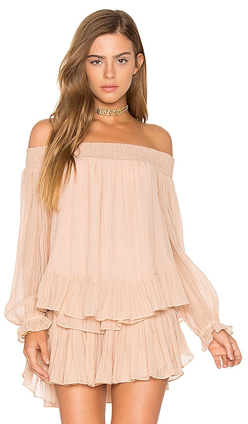 LoveShackFancy Smocked Peplum Top in Pink
