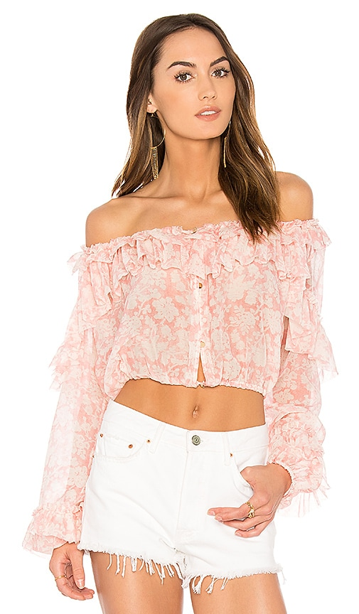 LoveShackFancy Ruffle Popover Top in Pink