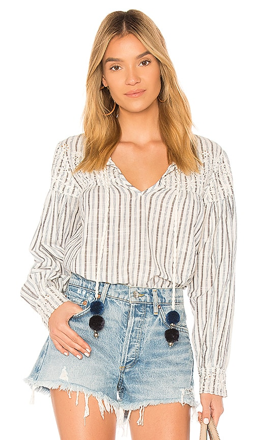 LoveShackFancy Prairie Peasant Top in White