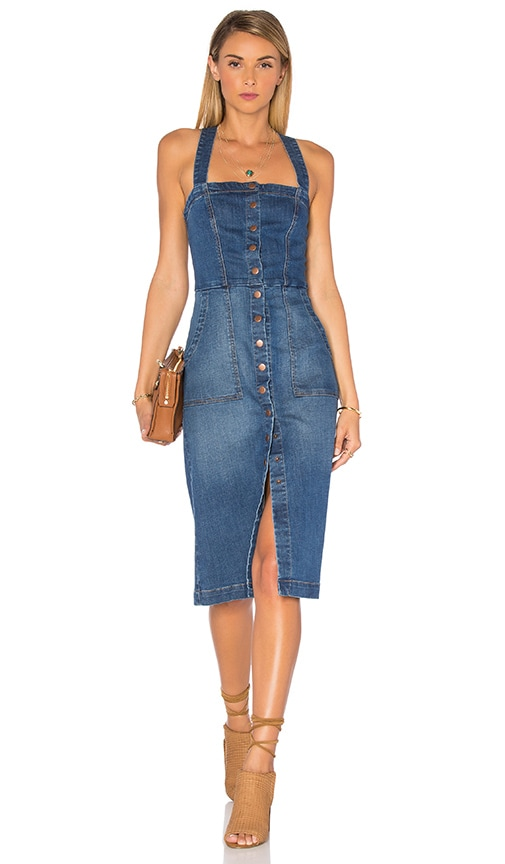 Level 99 Claire Denim Snap Dress in Lake Shore