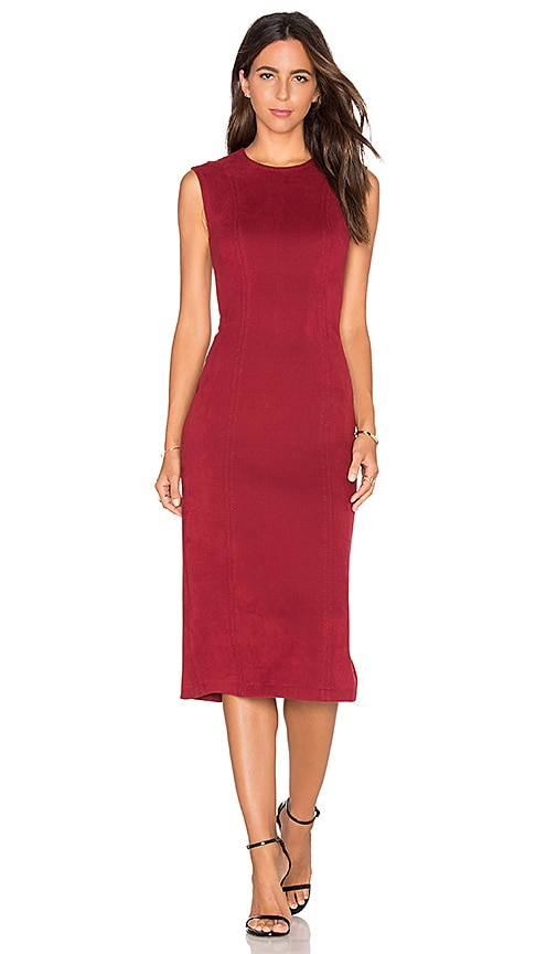 Level 99 Kimi Seamed Suede Dress in Red