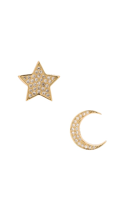 Micro Pave Moon & Star Stud Earrings
