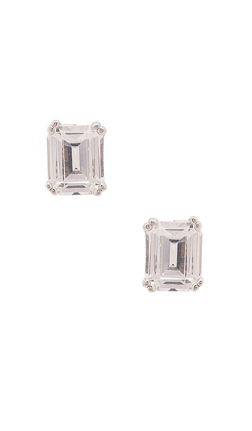 Lisa Freede Asscher Cut Stud in Metallic Silver