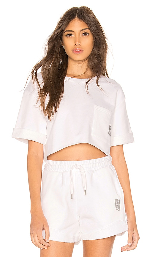 les girls les boys Loopback Crop Tee in White