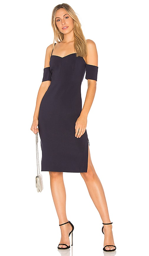 LIKELY Arden Open Shoulder Dress in Navy