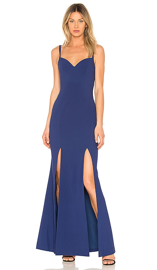 LIKELY Alameda Sleeveless Corset Slip Gown in Blueprint